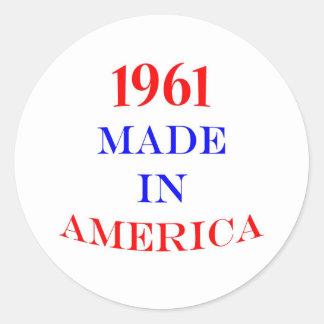 1961 Made in America Classic Round Sticker