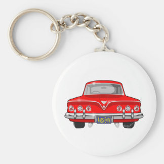1961 Red Chevrolet Basic Round Button Key Ring