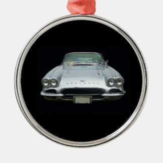 1961 silver 4 headlight corvette metal ornament
