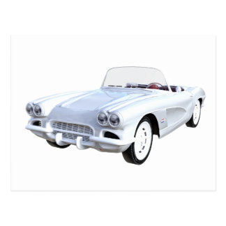1961 White Corvette Postcard