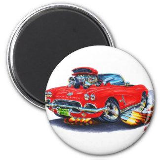 1962 Corvette Red Convertible 6 Cm Round Magnet