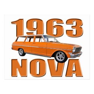 1963 chevy II nova longroof wagon in orange Postcard