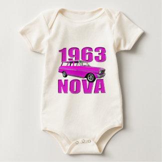 1963 chevy II nova longroof wagon neon pink Baby Bodysuit