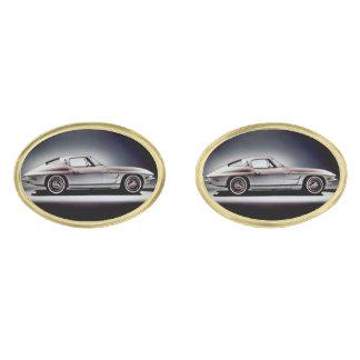 1963 Corvette Sting Ray Gold Finish Cufflinks