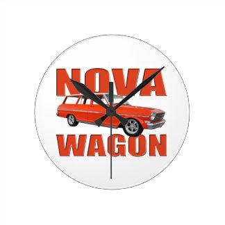 1963 red chevy II nova wagon longroof Round Clock