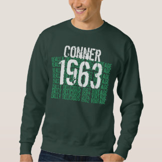 1963 Vintage Birthday Green and White Custom Name Pullover Sweatshirts