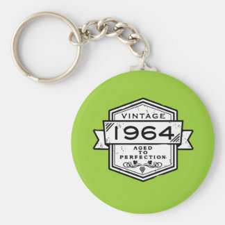 1964 Aged To Perfection Basic Round Button Key Ring