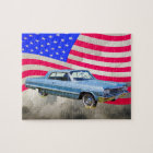 1964 Chevrolet Impala Car And American Flag Jigsaw Puzzle