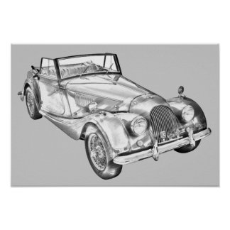 1964 Morgan Plus 4 Sports Car Illustration Poster