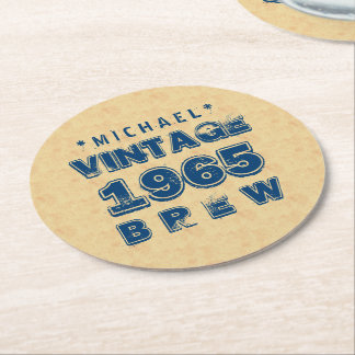 1965 50th or Any Birthday VINTAGE BREW Gold J30CZ Round Paper Coaster