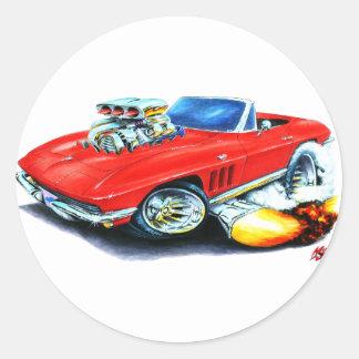 1965 Corvette Red Convertible Classic Round Sticker