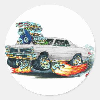 1965 GTO White Car Classic Round Sticker