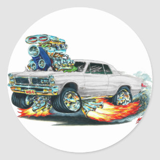 1965 GTO White Car Round Sticker
