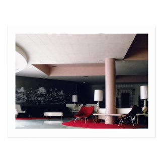 1965 Mid Century Modern Hotel Lobby Postcard