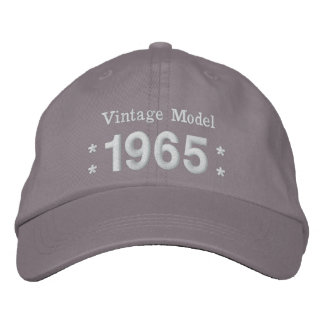 1965 or Any Year 50th Birthday A4P GRAY and WHITE Embroidered Baseball Cap