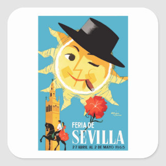 1965 Seville Spain April Fair Poster Square Sticker
