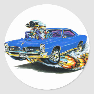 1966-67 GTO Blue Car Classic Round Sticker