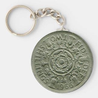 1966 British two shilling keychain