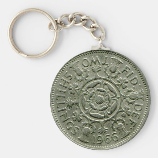 1966 British two shilling keychain