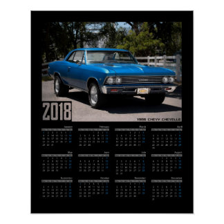 1966 Chevy Chevelle Muscle Car 2018 Calendar Poster