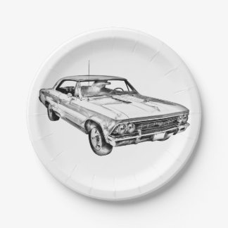 1966 Chevy Chevelle SS 396 Illustration 7 Inch Paper Plate