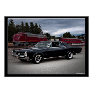1966 Pontiac GTO Muscle Car Locomotive Train Poster