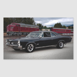 1966 Pontiac GTO Muscle Car Locomotive Train Rectangular Sticker