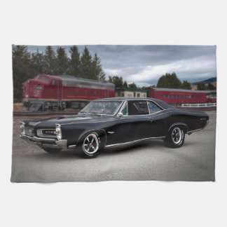 1966 Pontiac GTO Muscle Car Locomotive Train Tea Towel