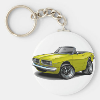 1967-69 Barracuda Yellow Convertible Basic Round Button Key Ring