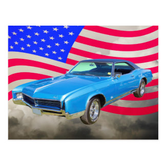 1967 Buick Riviera Muscle Car And American Flag Postcard
