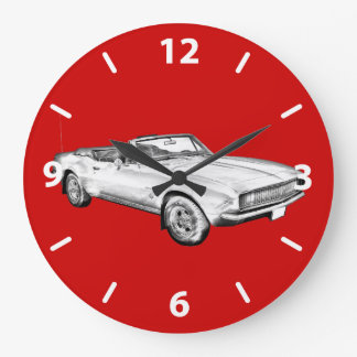 1967 Camaro muscle Car Illustration Large Clock