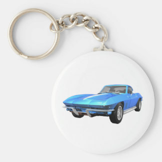 1967 Corvette Sports Car: Blue Finish: Basic Round Button Key Ring