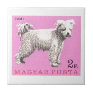 1967 Hungary Pumi Dog Postage Stamp Ceramic Tile