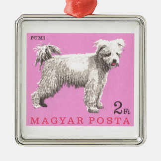 1967 Hungary Pumi Dog Postage Stamp Metal Ornament