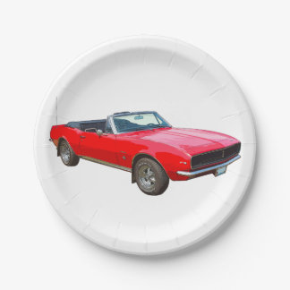 1967 Red Convertible Camaro Muscle Car 7 Inch Paper Plate
