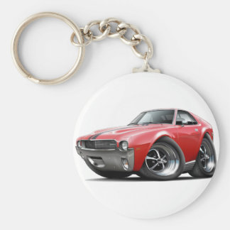 1968-69 AMX Red-Black Car Basic Round Button Key Ring