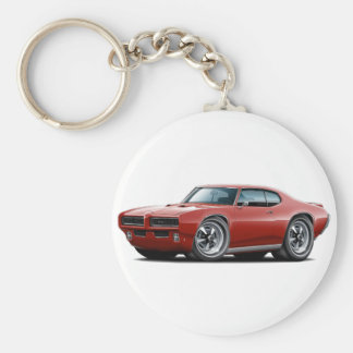 1968-69 GTO Maroon Car Basic Round Button Key Ring