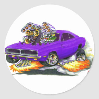 1968-70 Charger Purple Car Round Sticker