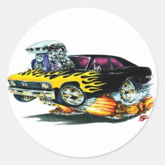 1968-70 Nova Black Flames Round Sticker