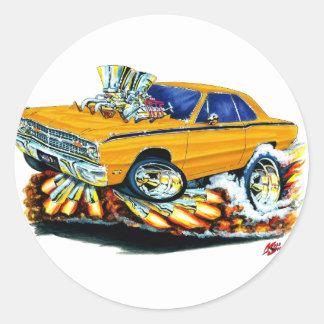 1968-71 Dodge Dart Orange Car Round Sticker