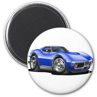 1968-72 Corvette Blue Car 6 Cm Round Magnet