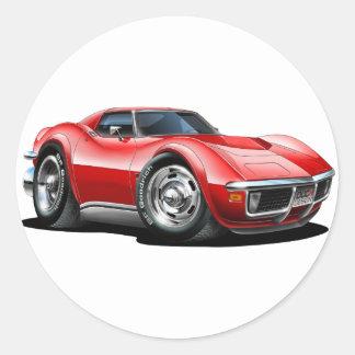 1968-72 Corvette Red Car Classic Round Sticker