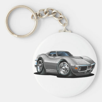 1968-72 Corvette Silver Car Basic Round Button Key Ring