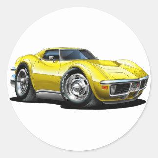 1968-72 Corvette Yellow Car Classic Round Sticker