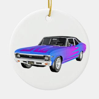 1968 AM Muscle Car in Purple and Blue Ceramic Ornament