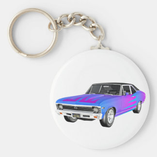 1968 AM Muscle Car in Purple and Blue Key Ring
