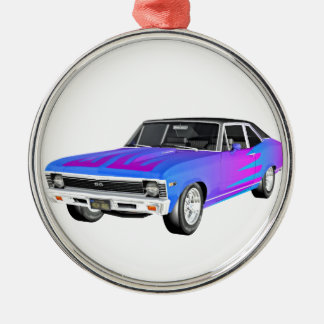 1968 AM Muscle Car in Purple and Blue Metal Ornament
