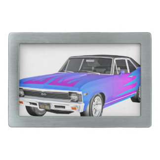 1968 AM Muscle Car in Purple and Blue Rectangular Belt Buckles