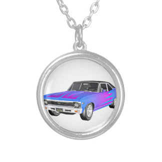 1968 AM Muscle Car in Purple and Blue Silver Plated Necklace