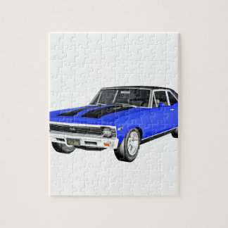 1968 Blue Muscle Car Jigsaw Puzzle